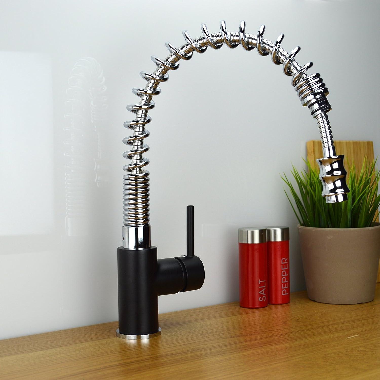 ENKI Kitchen Sink Mixer Tap Pull Out Spray Nozzle Black & Chrome ...