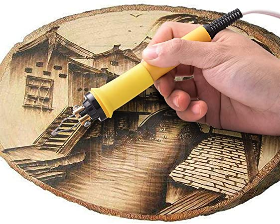 Wood/Burning/Kit Blue Dual Pen English Panel 60W Pyography/Wood/Burning/Tool Kit Used As Wood Carving Engraver With 2 Wood/Burning/ Stencil Pen 20pcs Pyrography Wire Tips For Wood Leather and Gourd