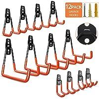 Garage Hooks Heavy Duty; 12 Pack Wall Mount Garage Hooks; Steel Garage Storage Hooks; Heavy Duty Garage Hangers for…