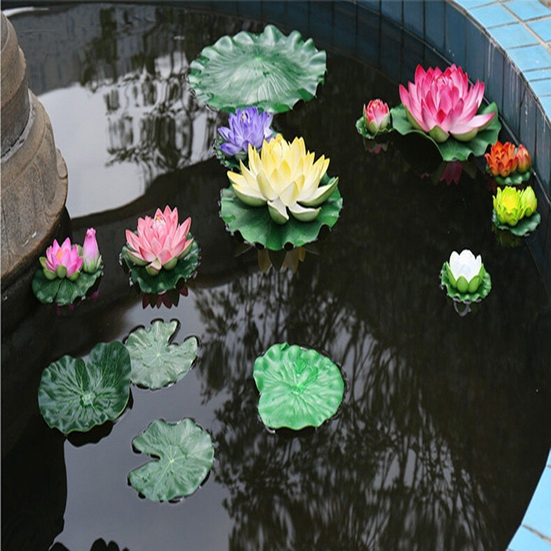 5PCS Set Artificial EVA Floating Foam Aquarium Foliage Floating Lotus Leaf Decor Pool Fish Tank Pond Leaves Home Garden Decoration by Roberts