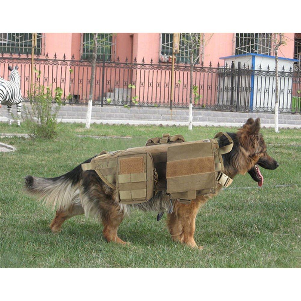 c192464ea56 OneTigris Tactical Dog Molle Vest Harness Training Dog Vest with Detachable  Pouches  (Tan