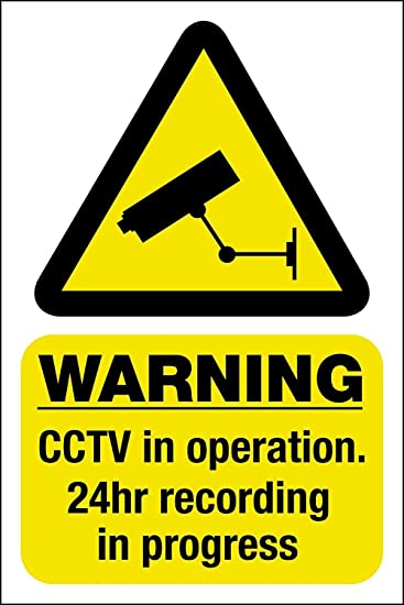 Vinyl Stickers CCTV Outdoor Sticker Warning Premises Under 24hr CCTV Security Surveillance CCTV Sign 2 Pack