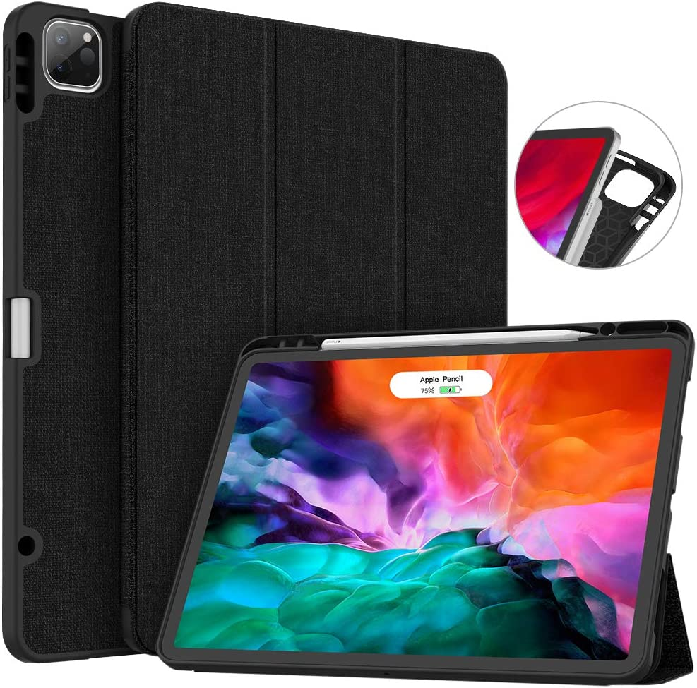 Soke New iPad Pro 12.9 Case 2020 & 2018 with Pencil Holder - [Full Body Protection + Apple Pencil Charging + Auto Wake/Sleep], Soft TPU Back Cover for 2020 iPad Pro 12.9(Black)