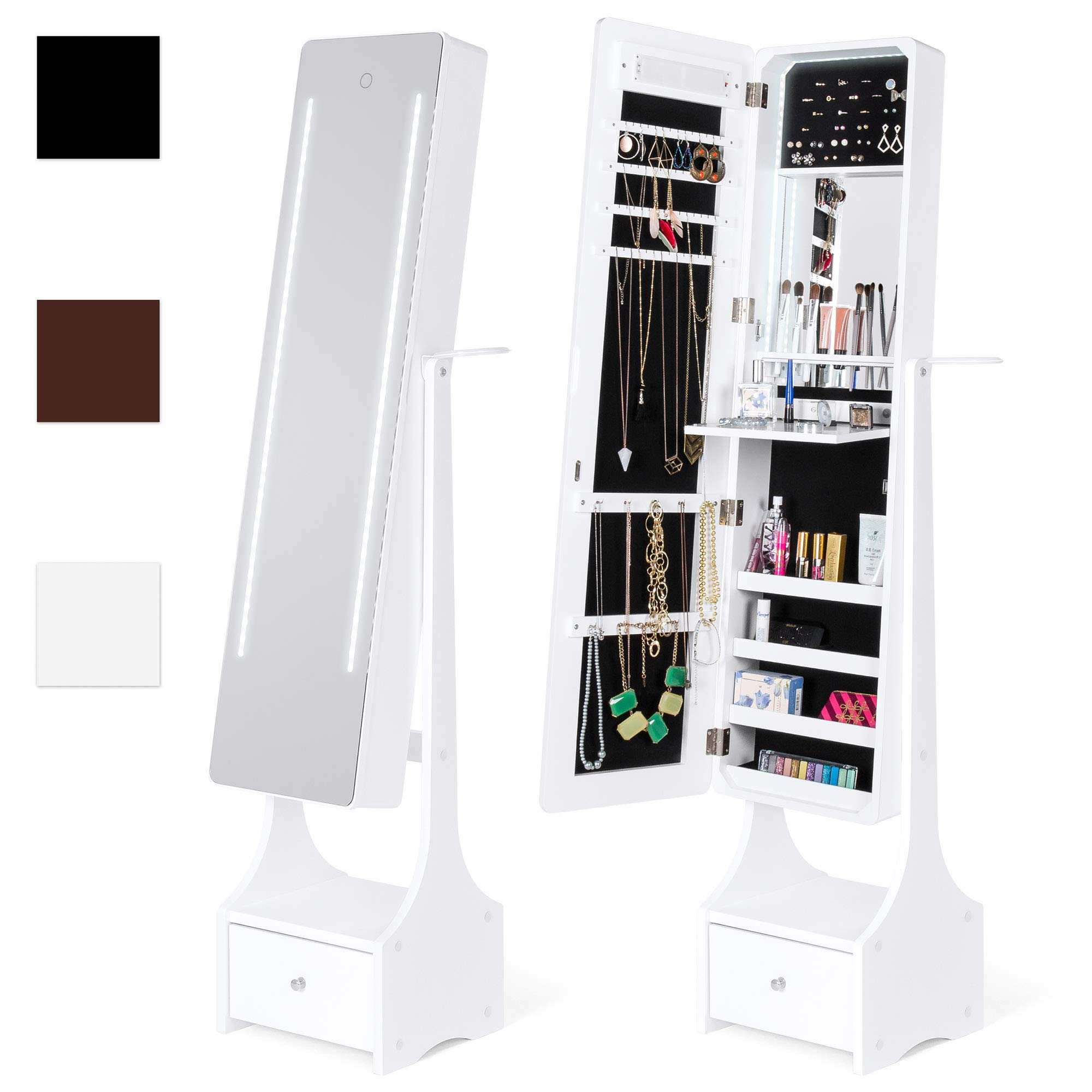 Best Choice Products Full Length Standing LED Mirrored Jewelry Makeup Storage Cabinet Armoire with Interior & Exterior Lights, Touchscreen, Shelf, Velvet Lining, 4 Compartments, Drawer, White by Best Choice Products