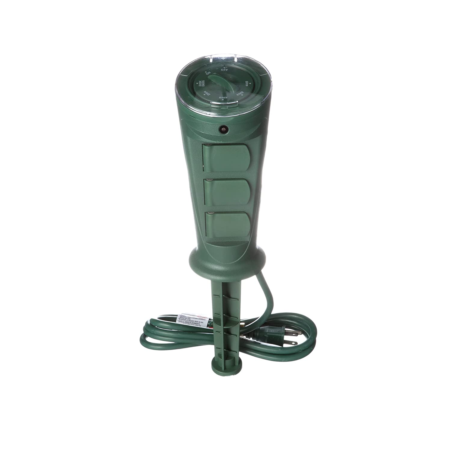 Woods 17321WD Outdoor Plug-In Yard Stake Timer with Photocell, 3 Grounded Outlets