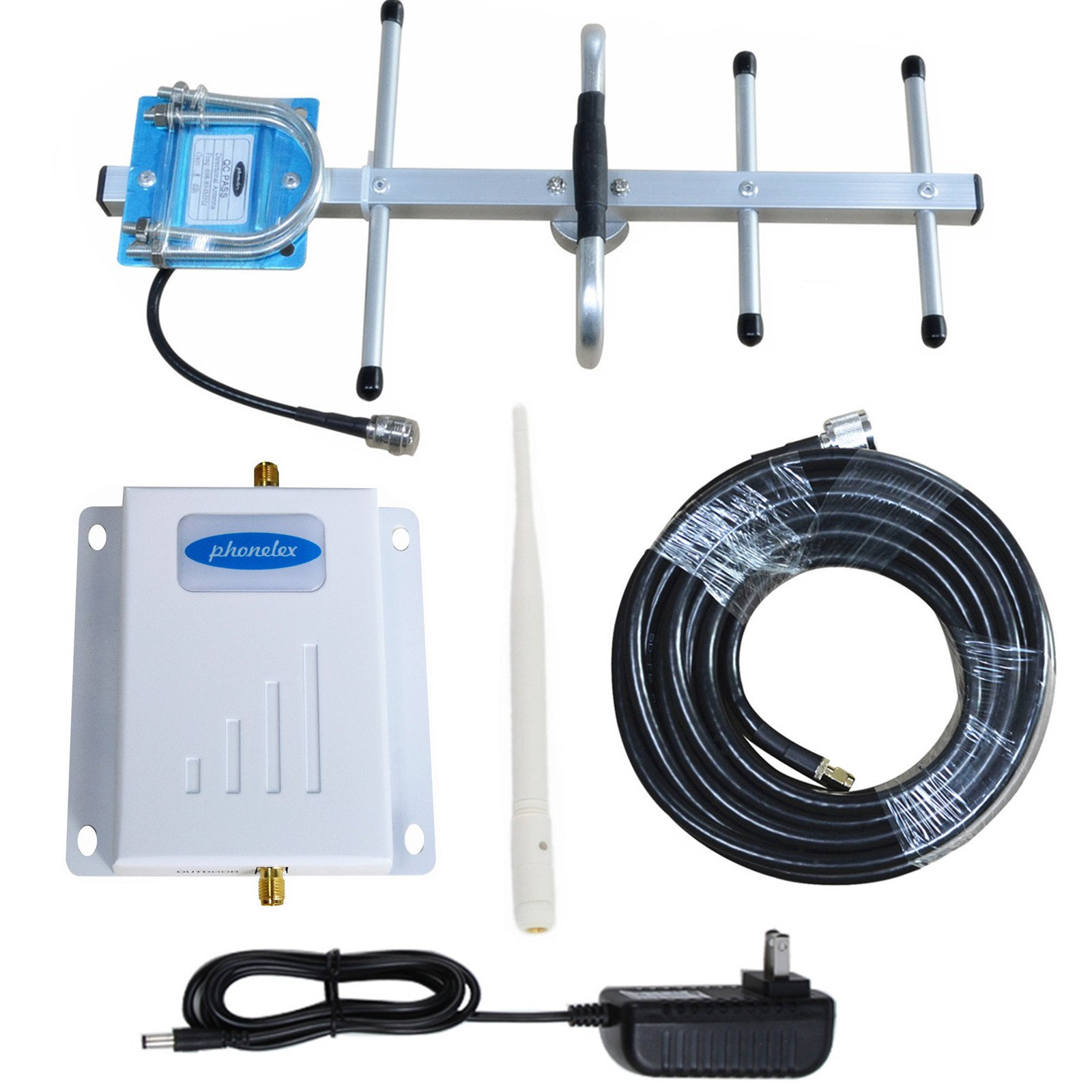 Phonelex Cell Signal Booster 700Mhz FDD 4G LTE AT&T T-Mobile Band12/17 Mobile phone Amplifier Reception with Inside whip and Outside YaGi Directioanl Antenna Kits For Home office Basement by phonelex