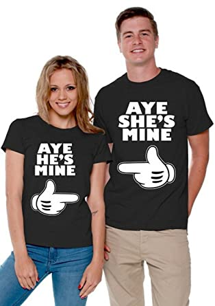 a036240a72 Aye He's Mine Aye She's Mine Matching Couple Shirts Valentines Day Men  Large/Ladies Small
