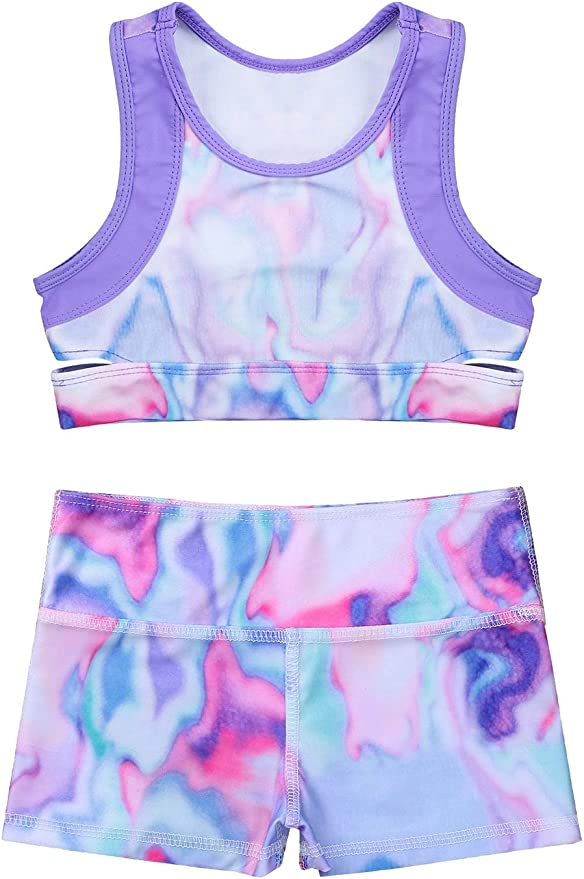Agoky Kids Girls Top and Booty Shorts Ballet Dance Gymnastics Sports Leotard or Swimwear Swimming Costumes Pink Shiny 5-6