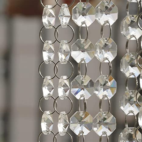 19.7Ft Crystal Chandelier Beads Clear Glass Crystal Beads Lamp Chain Garland for Wedding Home and DIY Craft Jewelry Decoration