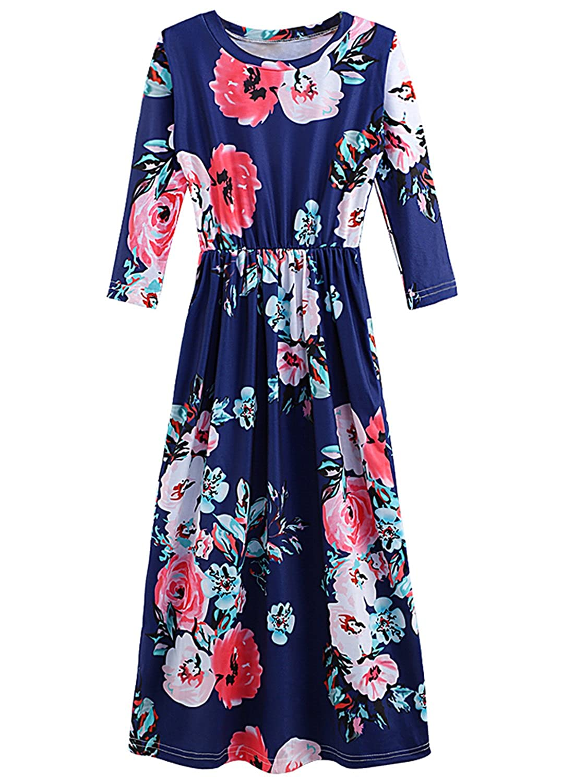 Kidsparadisy Girls Retro Flora Print Maxi Dress Long Sleeves Casual Beach Wear