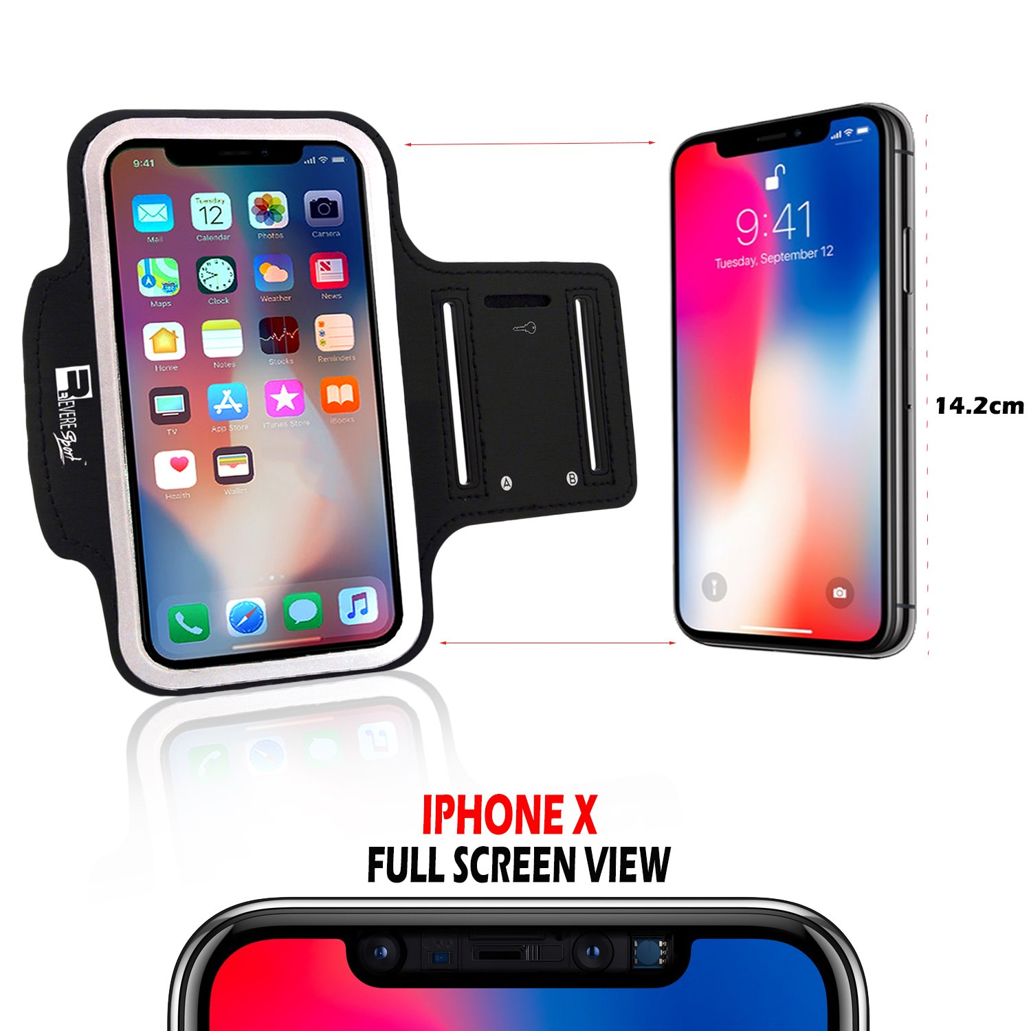 Premium iPhone X/10 Running Armband with Full Screen Access. Sports Phone Arm Case Holder for Jogging, Gym Workouts & Exercise by Revere Sport (Image #3)