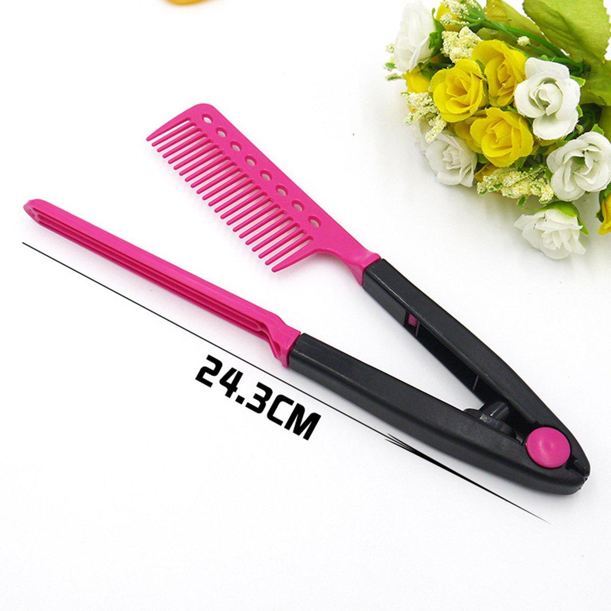 Frcolor Plancha para el cabello Peine Peluquería Peluquería Corte de pelo Peine Herramienta de peinado (Rojo): Amazon.es: Belleza