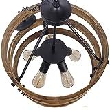 Anmytek C0014 Metal and Circular Wood Chandelier