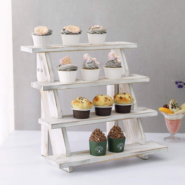 MyGift 4 Tier Cascading Whitewashed Wood Retail Stair Shelf Display Riser, Cupcake Dessert Stand