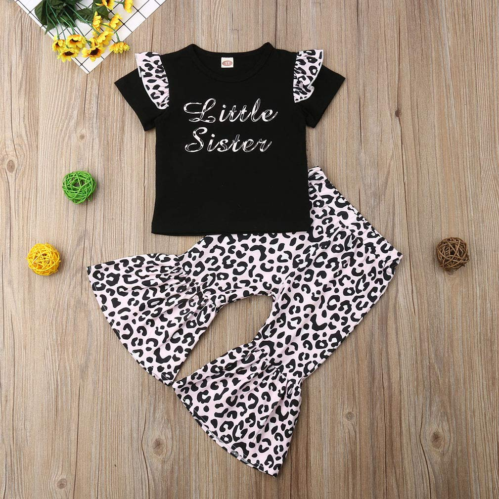 9242f970abf2 Amazon.com  Baby Girls Lace Off Shoulder Ruffle T Shirt Top+ Leopard Print  Bell Bottom Pant Outfits Sets  Clothing