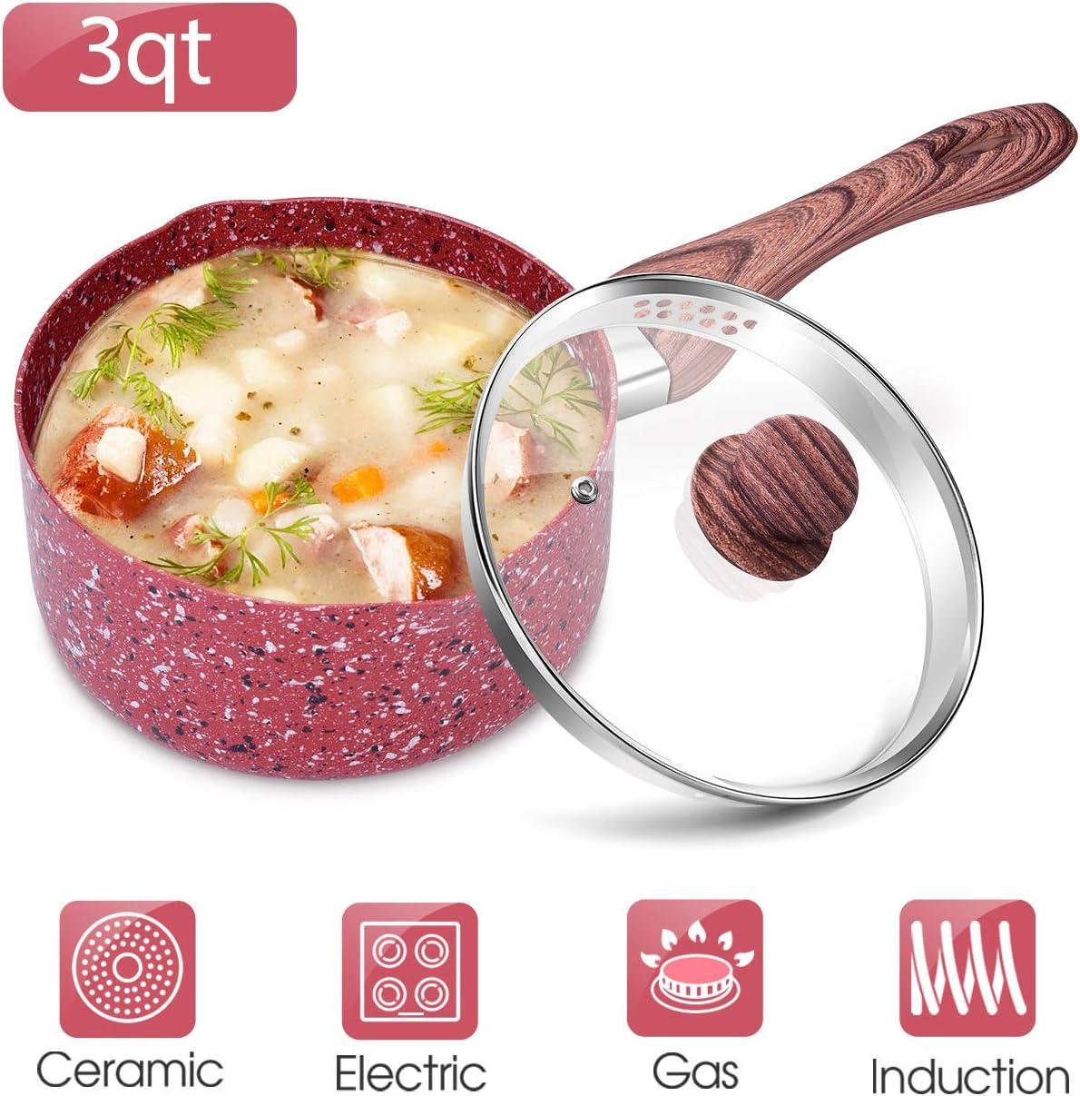 3 Quart Nonstick Saucepan with Lid - Granite Stone Coating Sauce Pan with Pour Spout, Induction Cooker Compatible, 3QT Soup Pot for Stew Dish, PFOA PFOS PFAS Free, Ergonomic BakeliteHandle, Red