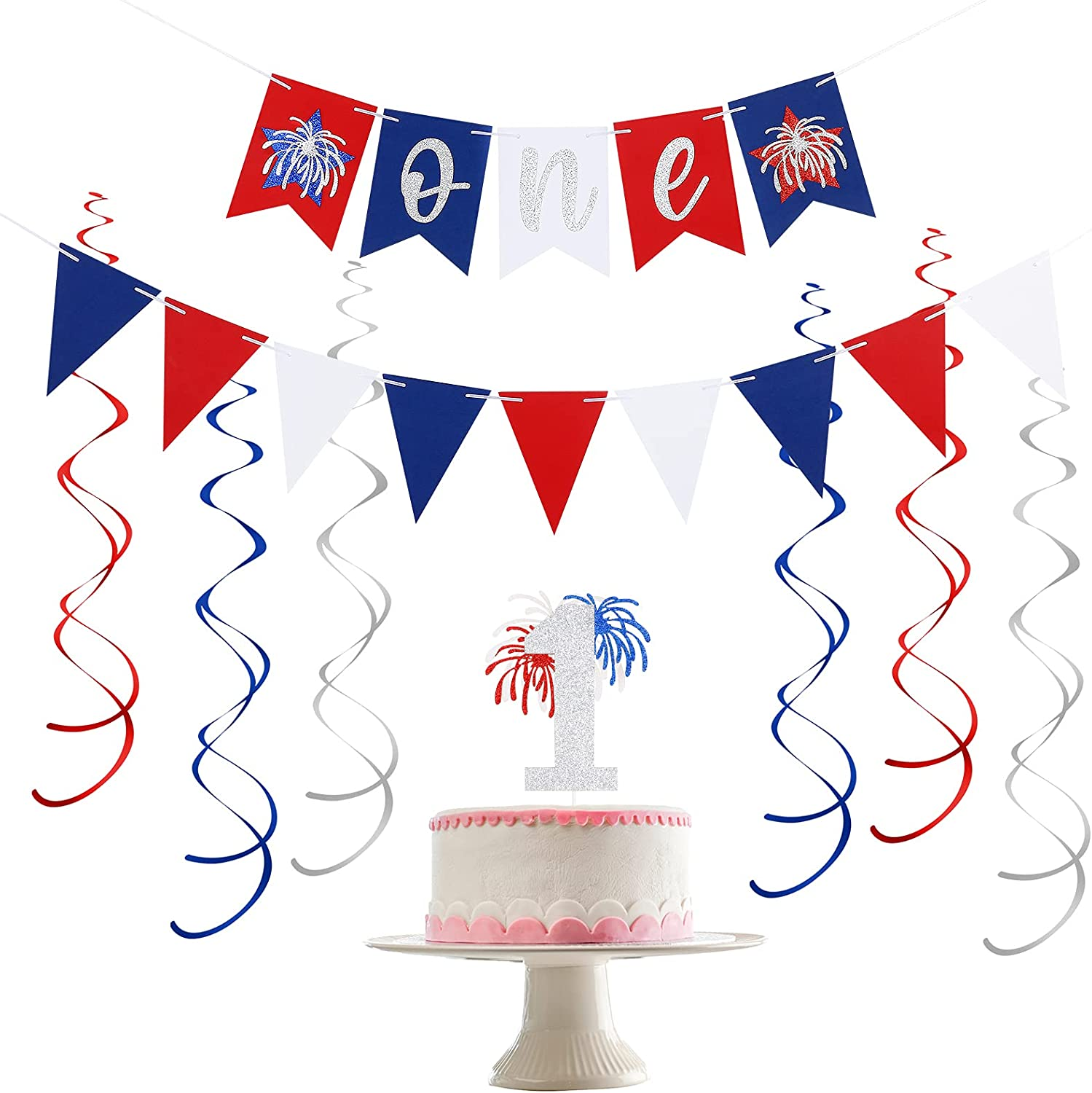 4th of July 1st Birthday Decorations- One Banner Red White and Blue Glitter,Patriotic One Cake Topper,Patriotic Triangle Flag Pennant,Hanging Swirls Party Decor Supplies, 4th of July Baby Shower Decorations