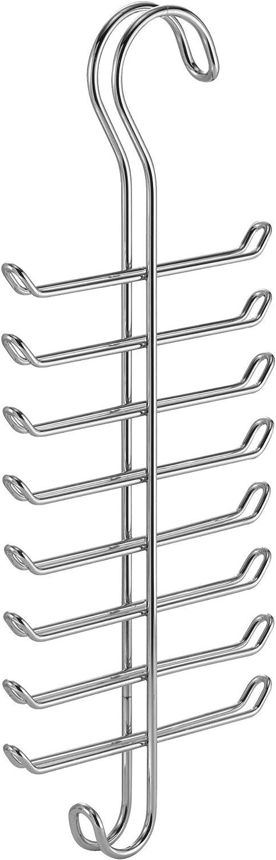 Percha m/últiple de Metal Cromado con 16 Ganchos para organizar Cinturones y ordenar Corbatas Plateado InterDesign Classico Colgador Vertical