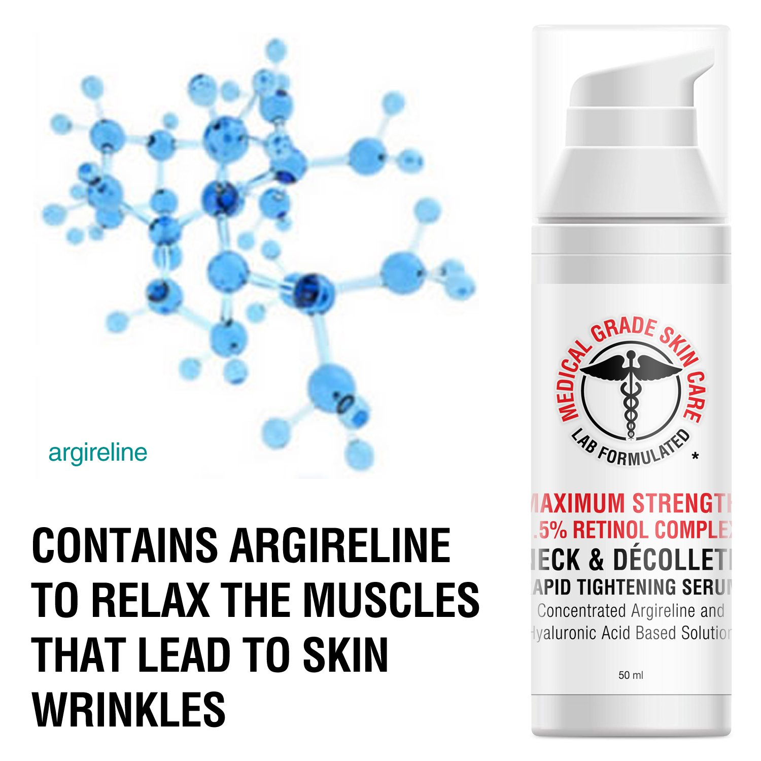 Neck & Décolleté Tightening Serum   Best Anti-Aging Firming Neck Cream Made With Maximum Strength 2.5% Retinol Complex   Concentrated With Argireline and Hyaluronic Acid by SkinPro (Image #4)