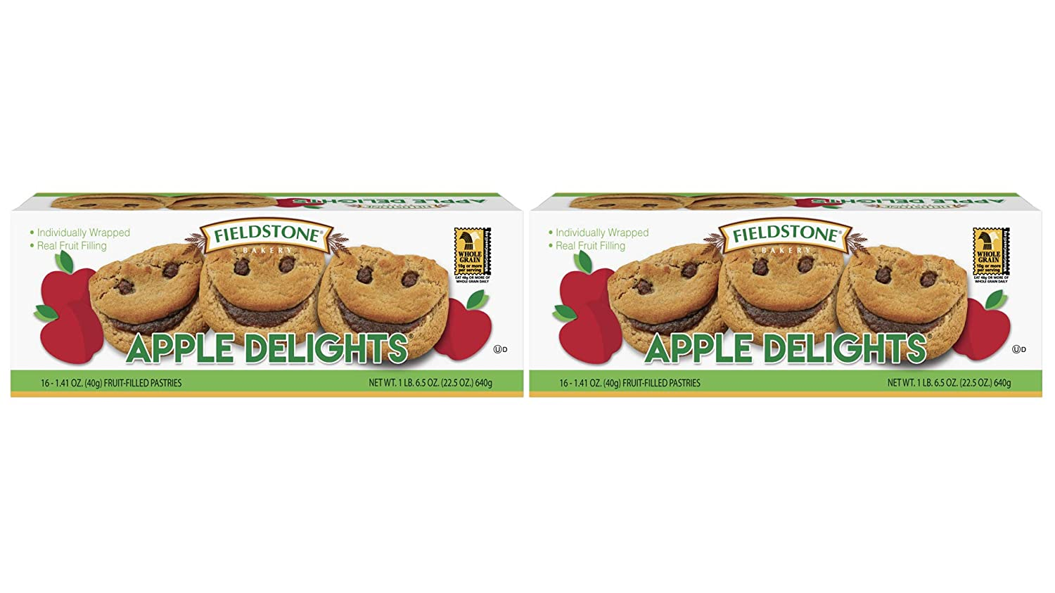 Fieldstone Bakery Whole Grain Apple Delights with Real Fruit Filling, 2 Boxes, 32 Individually Wraped Pastries