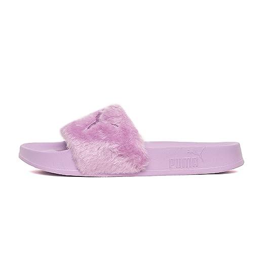 Puma Womens Fenty by Rihanna Pink Fur Slide 36577202 Sandals Shoes
