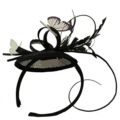 Something Special Butterflies Sinamay Feathers Fascinators Headband  Cocktail Derby Hat Black 9a2b81f96a9