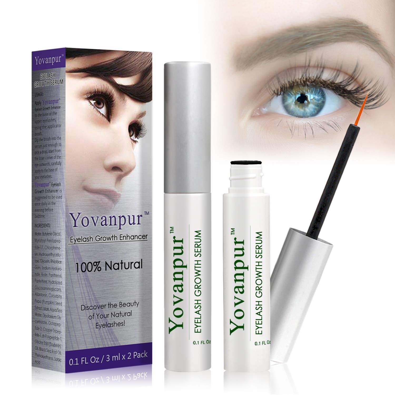 2bafe5c1310 Amazon.com: Yovanpur Eyelash Growth Serum, Eyelash Growth Enhancer, Lash  Booster Serum, Naturally Growing Longer, Thicker, Fuller Lashes and Eyebrows  0.1 Oz ...