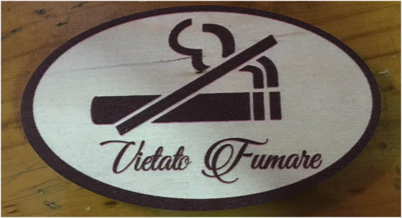 Targa decoro per porta, in legno Vietato Fumare E-line