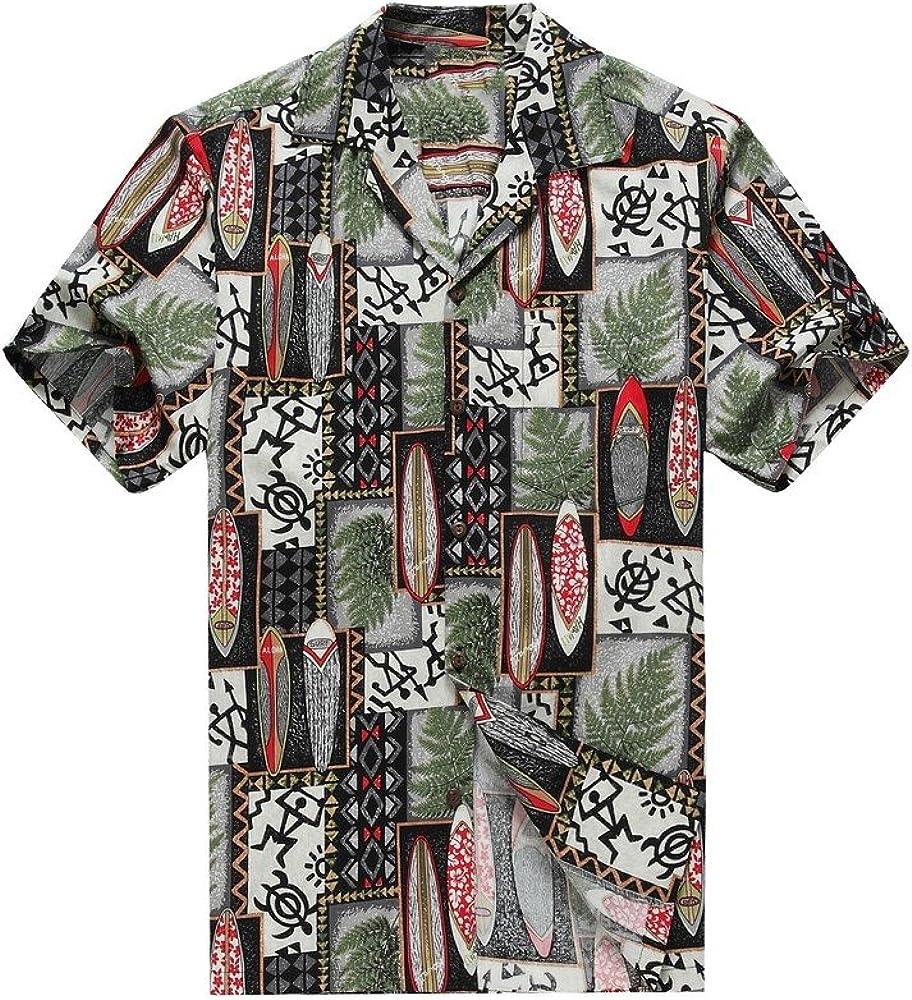 Hecho en Hawai de los Hombres Camisa Hawaiana Camisa de la Hawaiana S Edredón Patch Leaf Surfboards Tortuga en Negro: Amazon.es: Ropa y accesorios