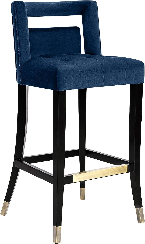 TOV Furniture Hart Velvet Stool, Bar Height, Navy