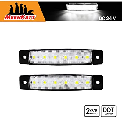 Meerkatt (Pack of 2) 3.8 Inch White 6 LED Side Marker Indicators Light Mini Bulb Clearance Sealed Lamp Waterproof Navigation Stern Transom Boat Marine Truck Lorry Trailer Ambulance Caravan 24v DC TK24: Automotive