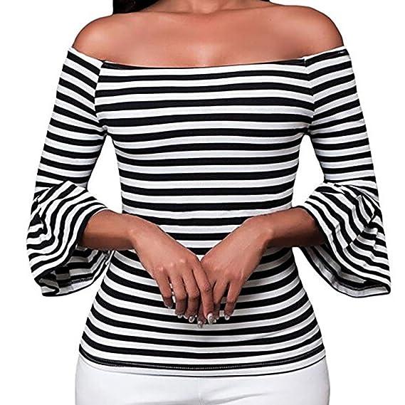 Yvelands Mujeres Elegante Manga Acampanada a Rayas de la Camiseta del Hombro Trim Top Blusa Falda Vestido de Fiesta Cocktail Vacaciones de Boda, ...