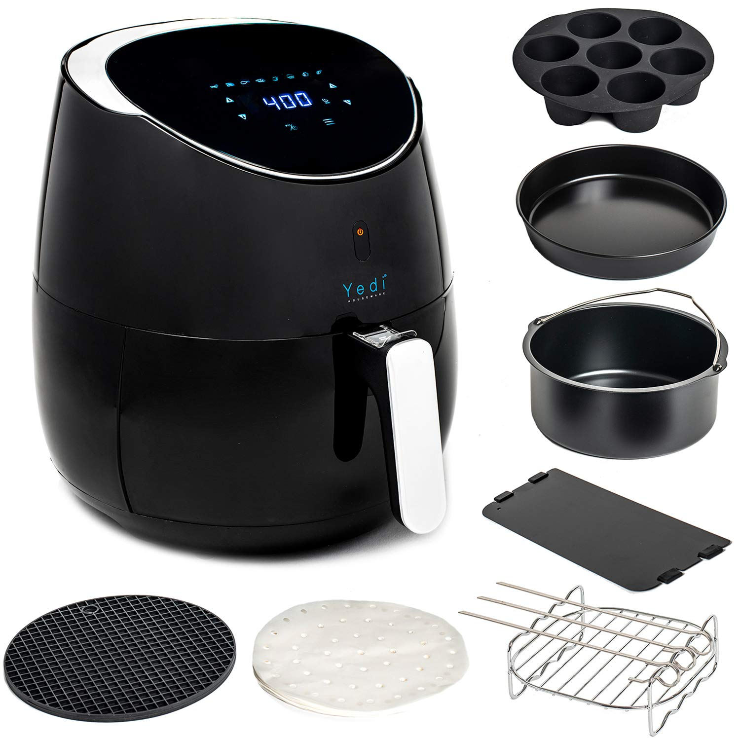 Total Package XL Air Fryer, 100 Recipes Included, with Cooking Basket Divider and Deluxe Accessory Kit by Yedi Houseware (5.8 QT)