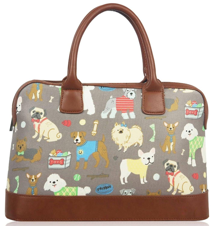 Kukubird Mixed Dog Print Matte Canvas Satchel Bowling Bag With Kukubird Dust Bag