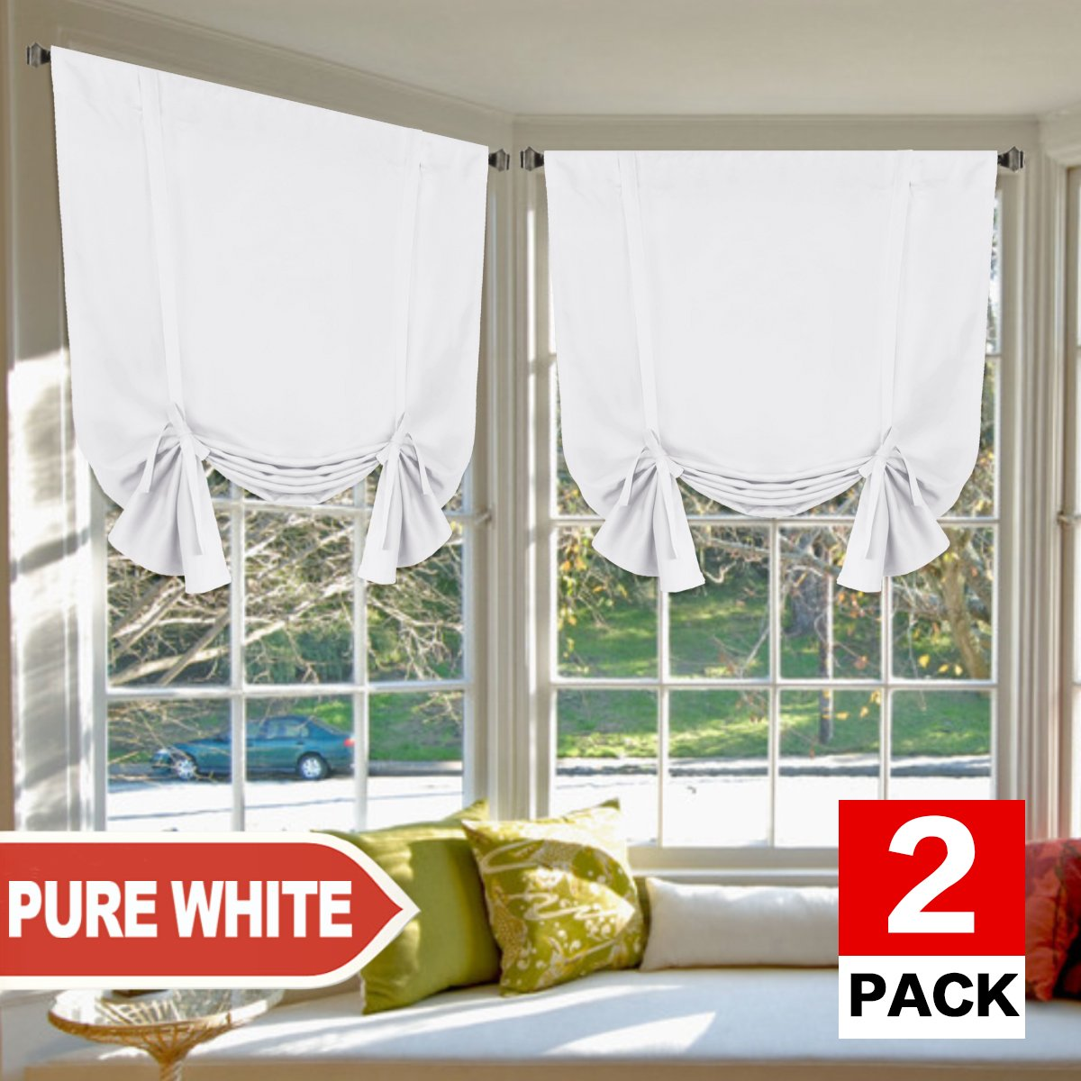 """H.VERSAILTEX Pure White Curtains Thermal Insulated Tie Up Window Shade Light Reducing Curtains for Kitchen, Rod Pocket 2 Panels- 42"""" Wide by 63"""" Long"""