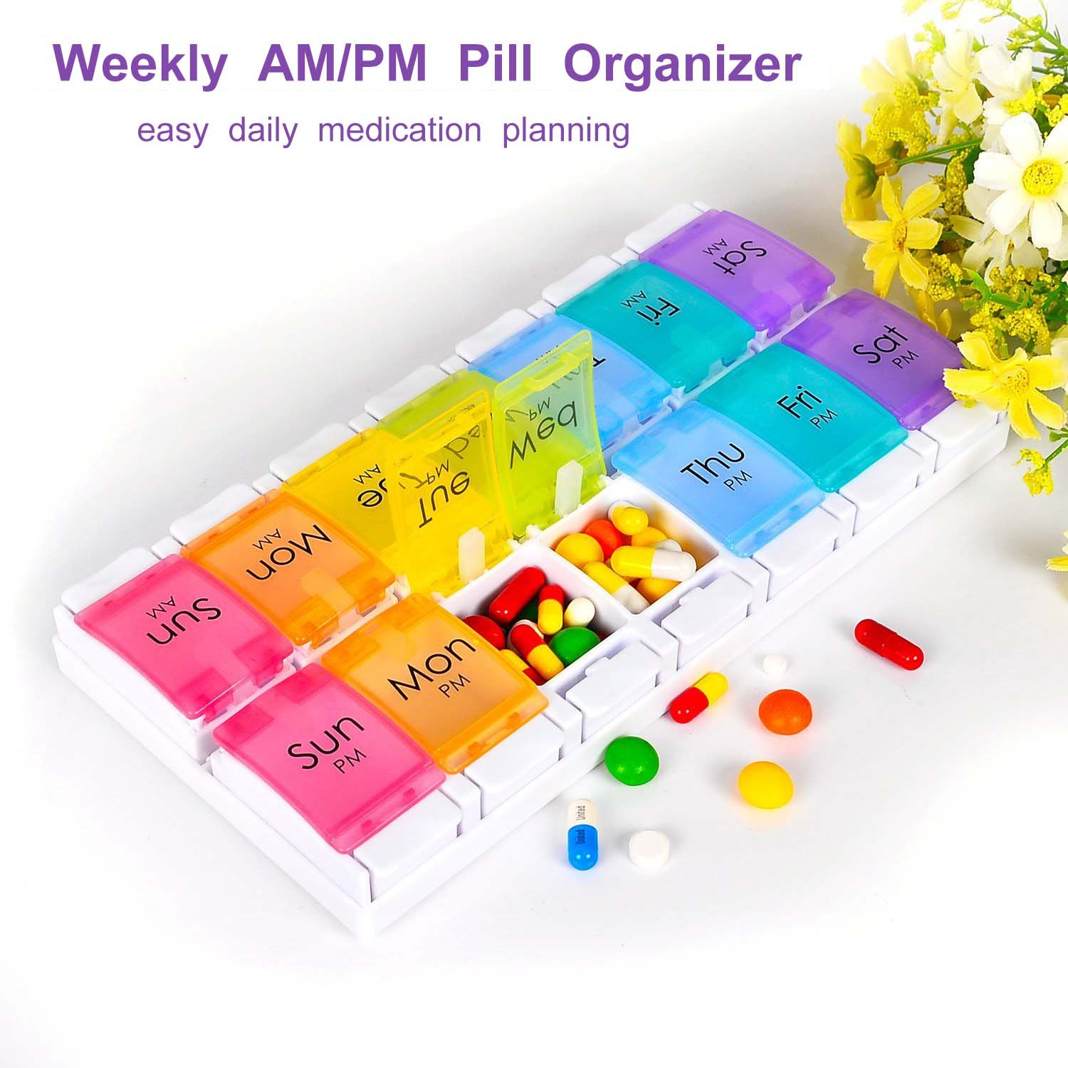 Pill Organizer, Weekly AM/PM Pill Box Case (7-Day/Twice-A-Day) BPA Free with Easy Open Design and Large Capacity to Hold Vitamins/Fish Oil/Supplements and Medication by ARPSTAR (Image #3)