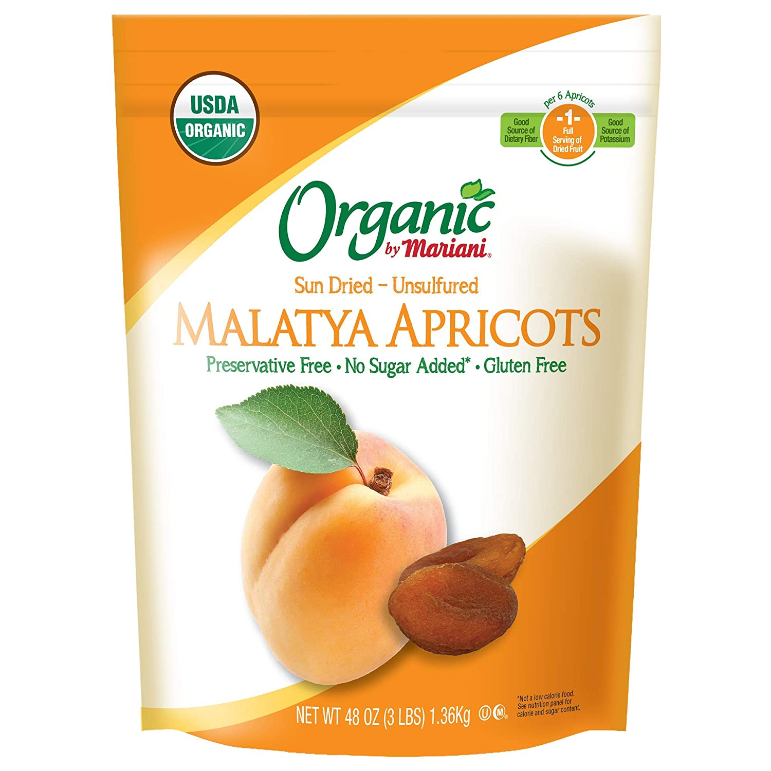 Organic by Mariani - Organic Malatya Apricots (48oz - Pack of 1) - Unsulfured, No Sugar Added, Good Source of Vitamin E - Healthy Snack for Kids & Adults