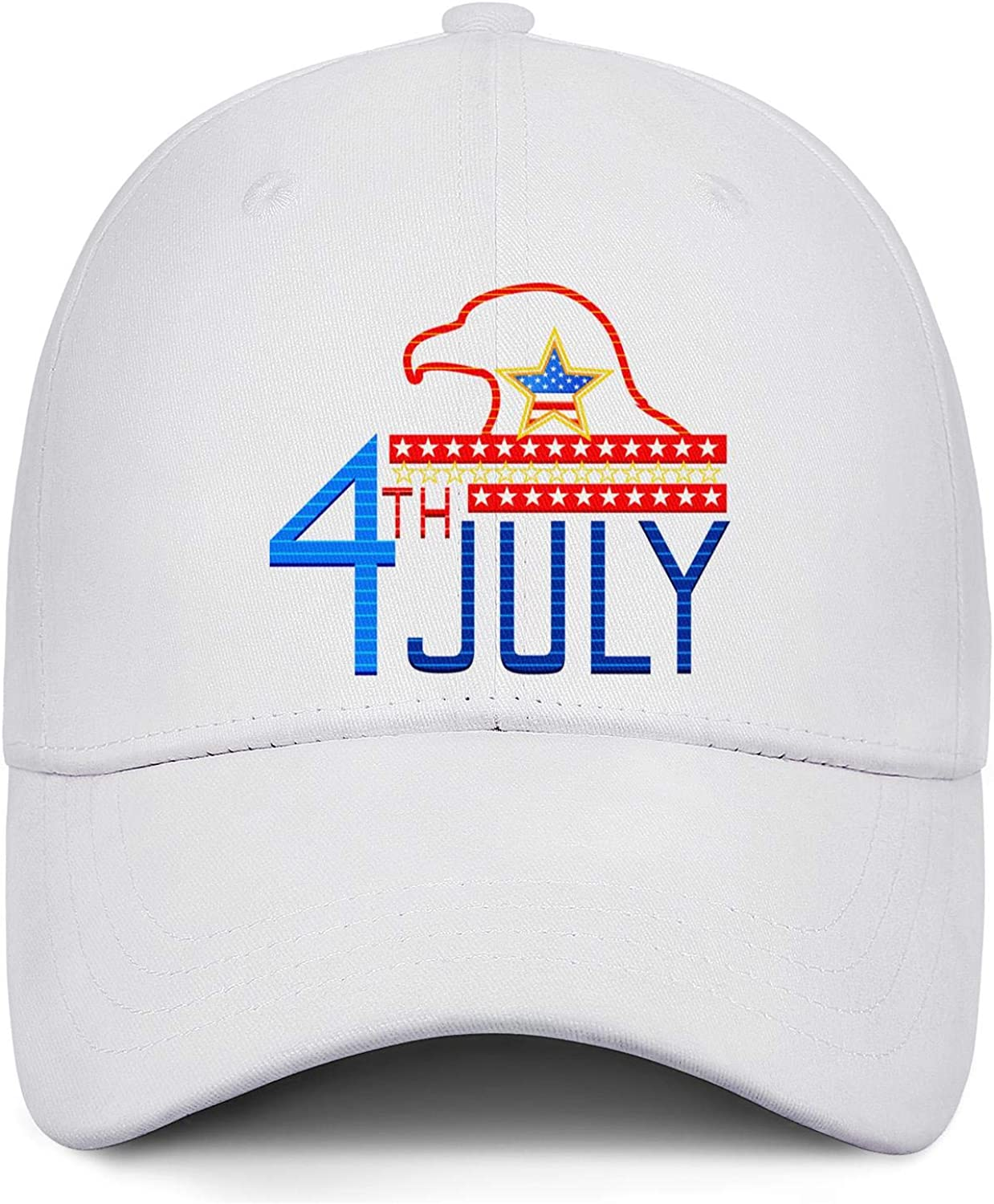America 4th of July Flags with Eagle Mens Baseball Adjustable Fits Low Profile Outdoor Snapback Hat