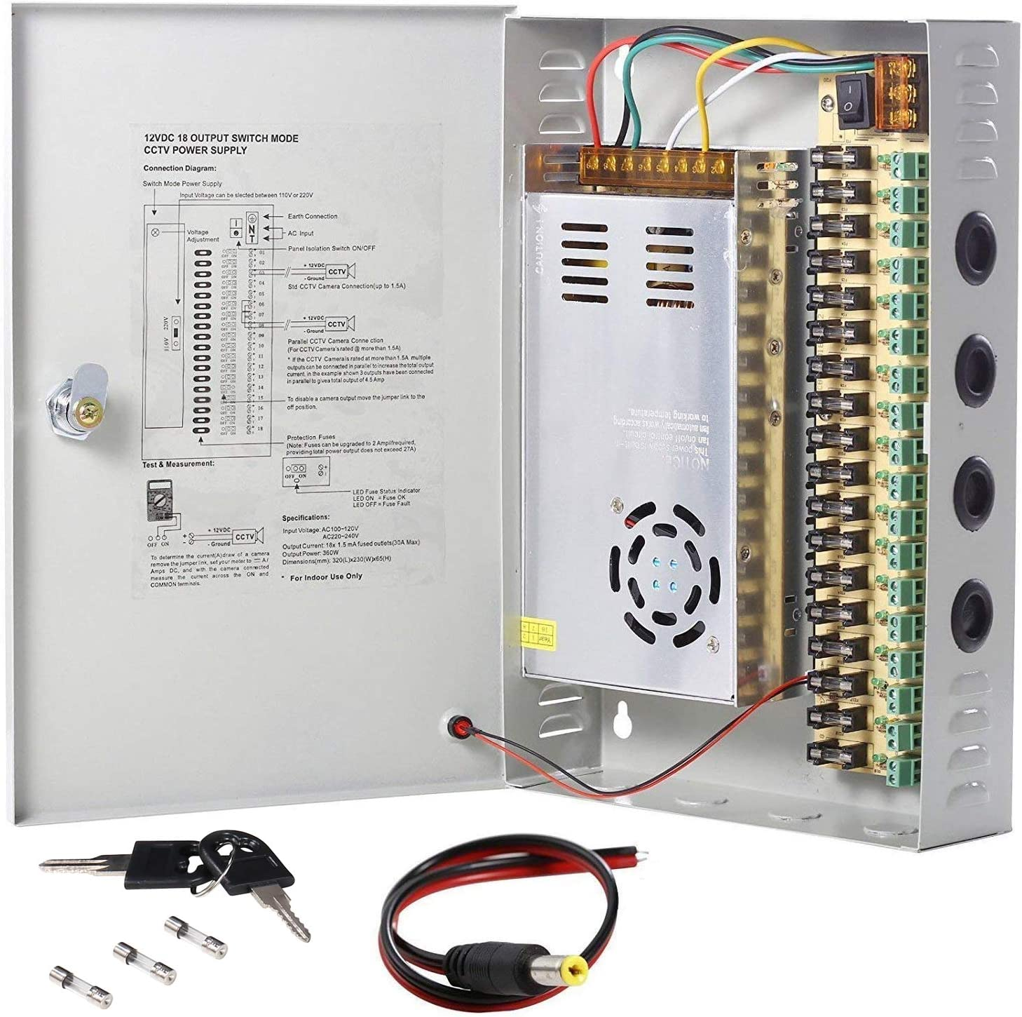 fuse distribution box main switch amazon com uhppote 18 channel power supply switch box cctv camera  power supply switch box cctv camera