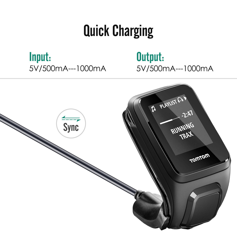 MoKo Tomtom Cargador del Aventurero, USB Data Sync Carga Cradle Dock Charger con 1M Cable de Carga para Tomtom Aventurero/ Golfer2 / Spark3 / Runner2 ...