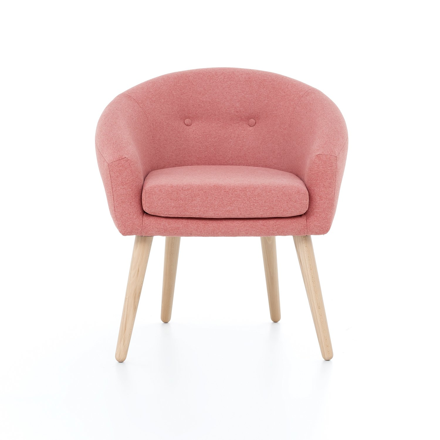 myHomery Milo Lounge Sessel gepolstert - Polsterstuhl für Esszimmer & Wohnzimmer - Vintagesessel mit Armlehnen - Eleganter Armlehnenstuhl aus Stoff - Retro - Lachs