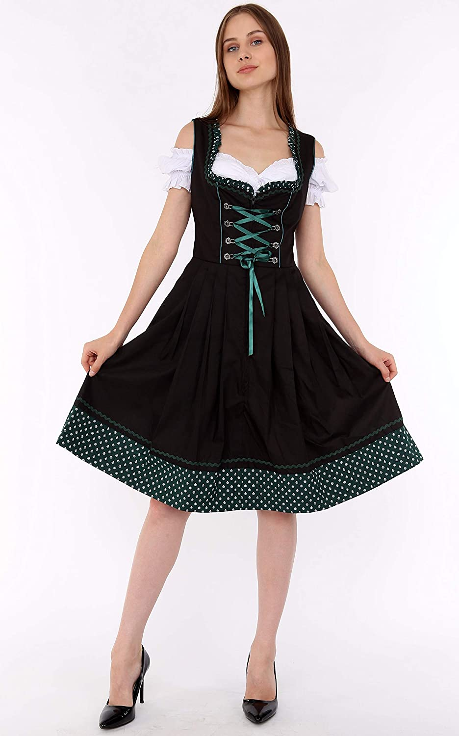Ladies Traditional Green Brown Deluxe Oktoberfest Bavarian Dirndl Dress Costume