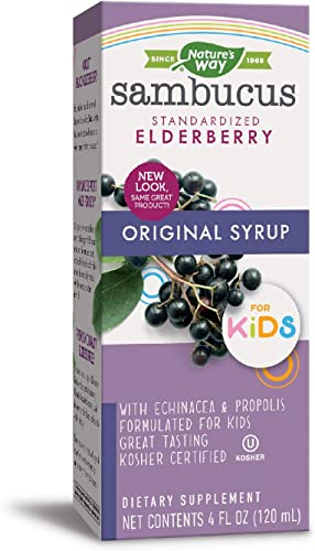 Nature's Way Sambucus Elderberry Immune Syrup for Kids, Herbal Supplements, Gluten Free, Vegetarian, 4 Ounce Packaging May Vary