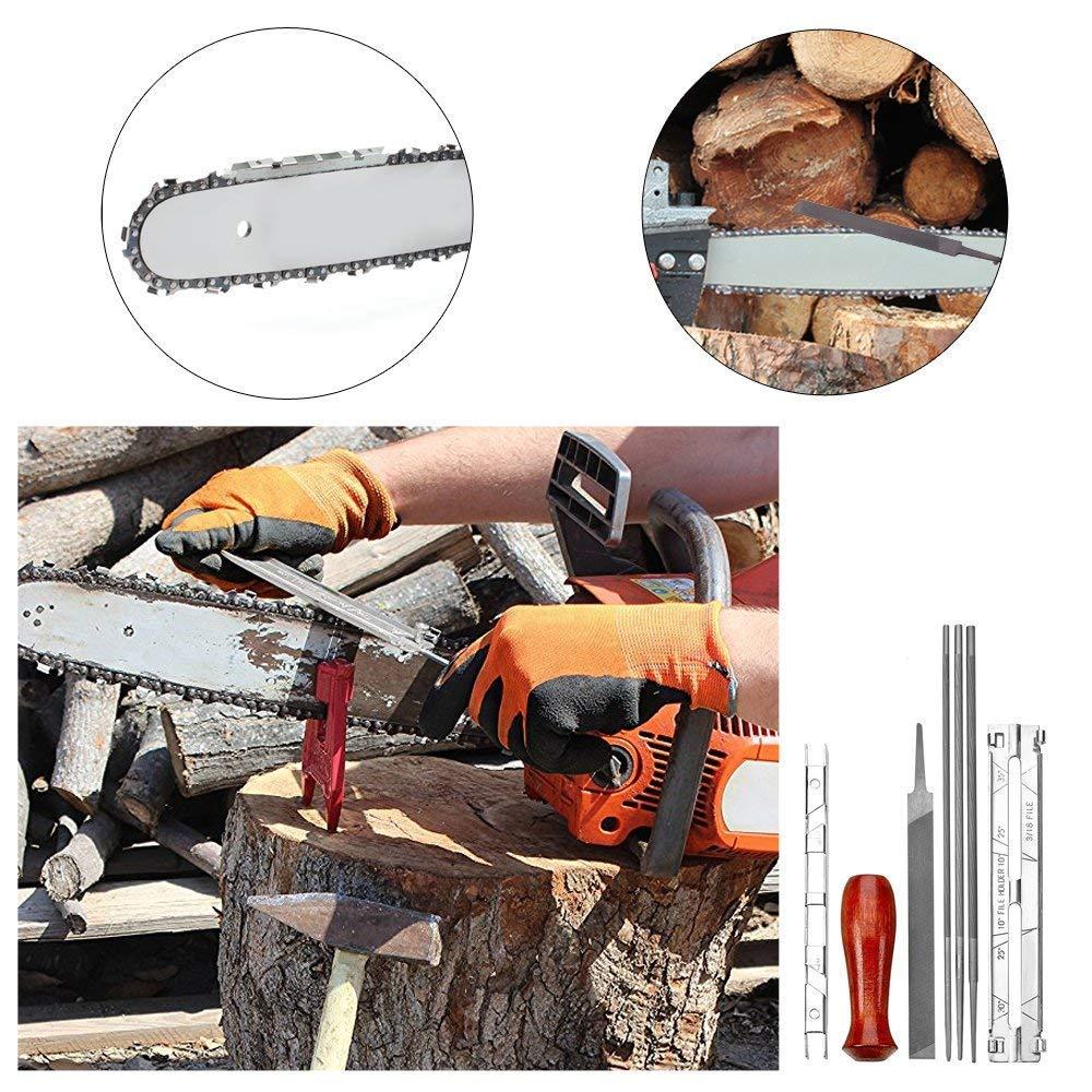 Zum Sch/ärfen und Ablegen von Kettens/ägen und anderen Klingen 8 St/ück Chainsaw Sharpener File Kit Filing Guide 3//16 Tiefenmesser Enth/ält 5//32 Holzgriff Werkzeugtasche 7//32 Zoll-Dateien