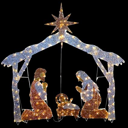 f36c1a4aaae Image Unavailable. Image not available for. Color  72 in. Nativity Scene  with Clear Lights
