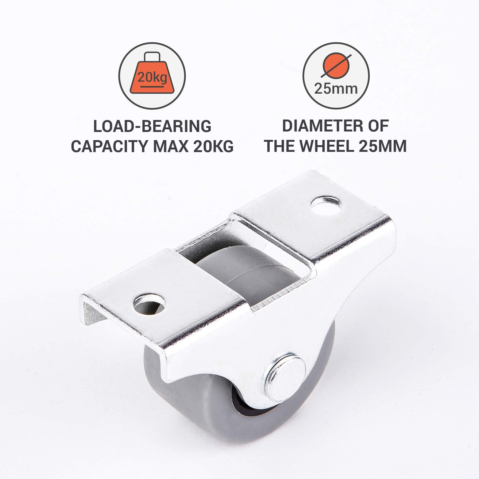 Pack of 8 25 mm Small Wheel Castors Rubber Casters Castors for Furniture Non-Swivel Small Wheels Non-Plastic Appliance /& Equipment Small Wheel Castors Screws Included Casters Set 8, ⌀25mm // 20kg