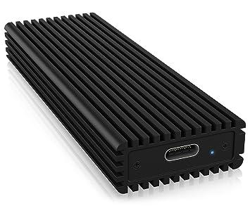 ICY BOX SSD M.2 NVMe Carcasa, USB 3.1 (Gen2, 10 Gbit/s), USB-C, USB-A, PCIe M-Key, Aluminio, Negro