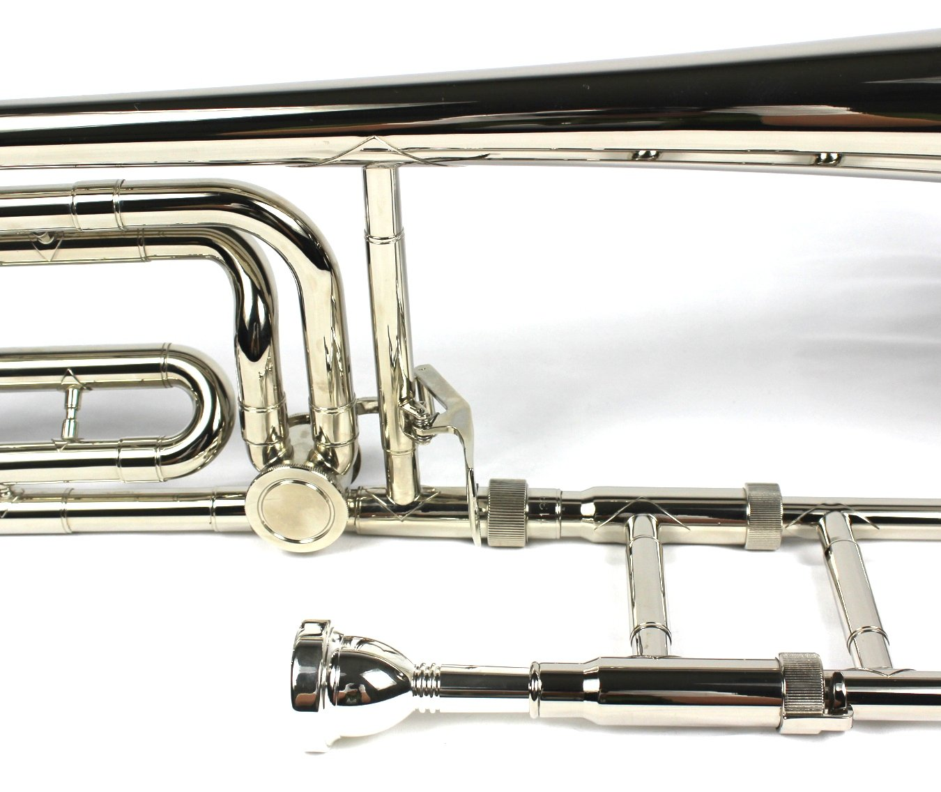 Brand New Bb/F Tenor Trombone w/ Case and Mouthpiece- Nickel Plated Finish by Moz (Image #5)