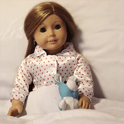a44639ce28 ... 18 Inch Doll Red Polka Dot Satin Pajamas for Dolls with Furry Slippers  - Cutest Doll