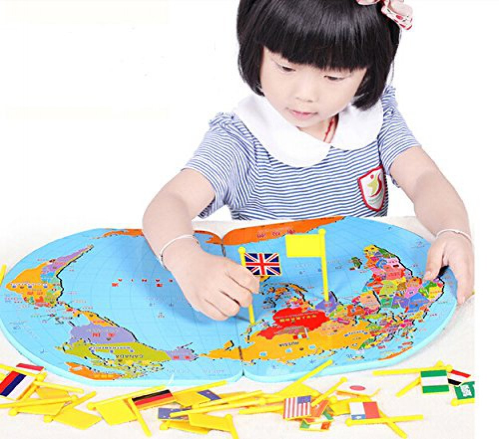 Buy wooden world map flag matching puzzle geography educational buy wooden world map flag matching puzzle geography educational toy gift for kids online at low prices in india amazon gumiabroncs Images